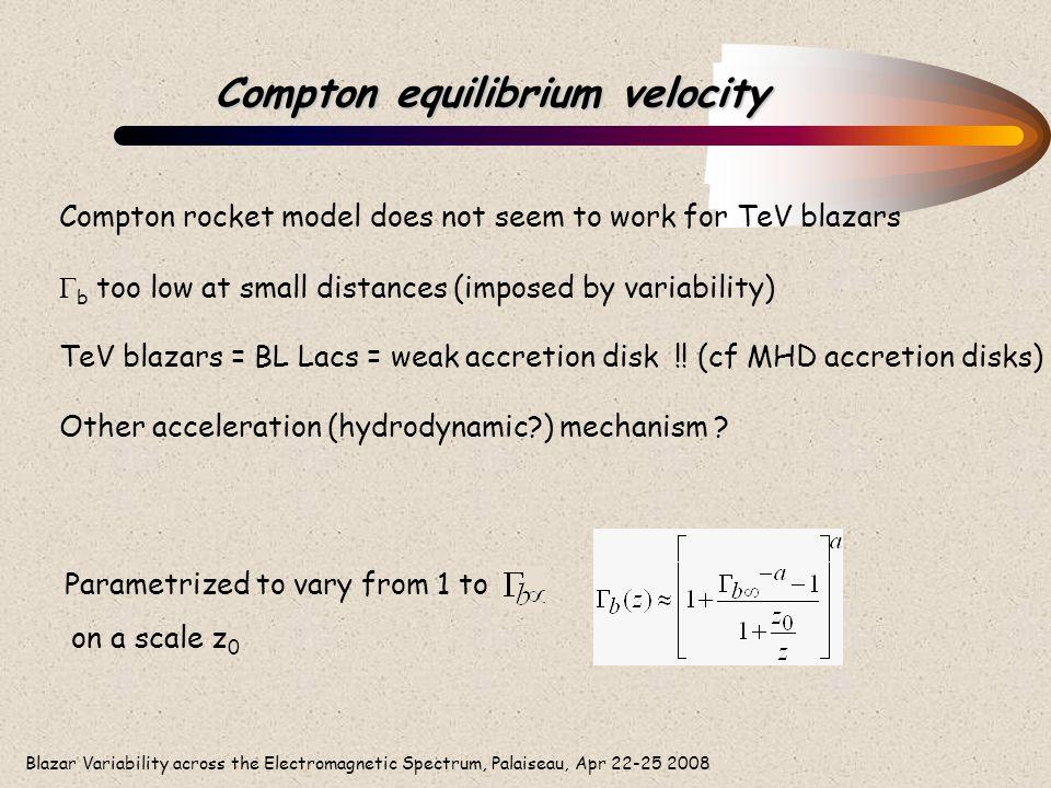 Blazar Variability across the Electromagnetic Spectrum, Palaiseau, Apr 22-25 2008 Compton equilibrium velocity Compton rocket model does not seem to w