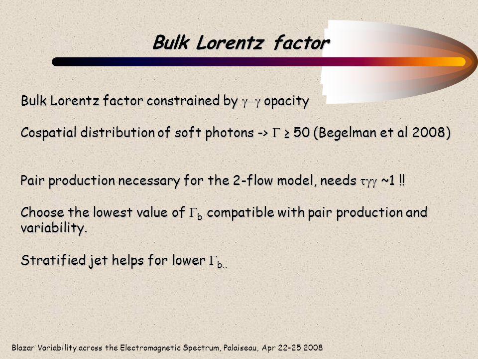 Blazar Variability across the Electromagnetic Spectrum, Palaiseau, Apr 22-25 2008 Bulk Lorentz factor Bulk Lorentz factor constrained by  opacity C
