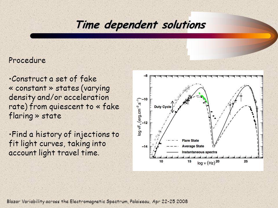 Blazar Variability across the Electromagnetic Spectrum, Palaiseau, Apr 22-25 2008 Time dependent solutions Procedure Construct a set of fake « constan