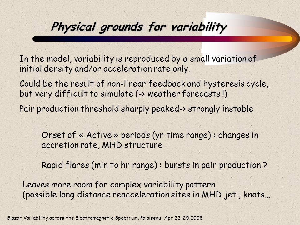 Blazar Variability across the Electromagnetic Spectrum, Palaiseau, Apr 22-25 2008 Physical grounds for variability In the model, variability is reprod