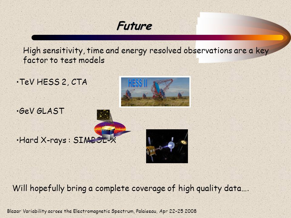 Blazar Variability across the Electromagnetic Spectrum, Palaiseau, Apr 22-25 2008 Future TeV HESS 2, CTA GeV GLAST Hard X-rays : SIMBOL-X Will hopeful
