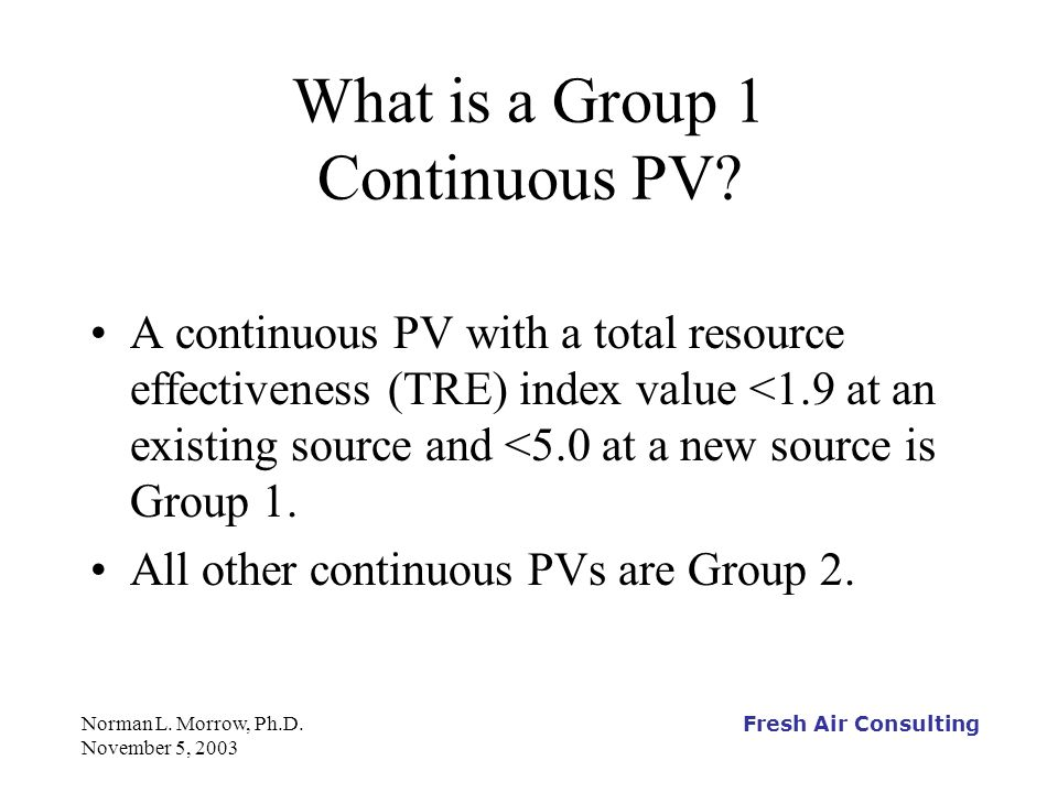 Fresh Air Consulting Norman L.Morrow, Ph.D. November 5, 2003 What is a Halogenated Continuous PV.