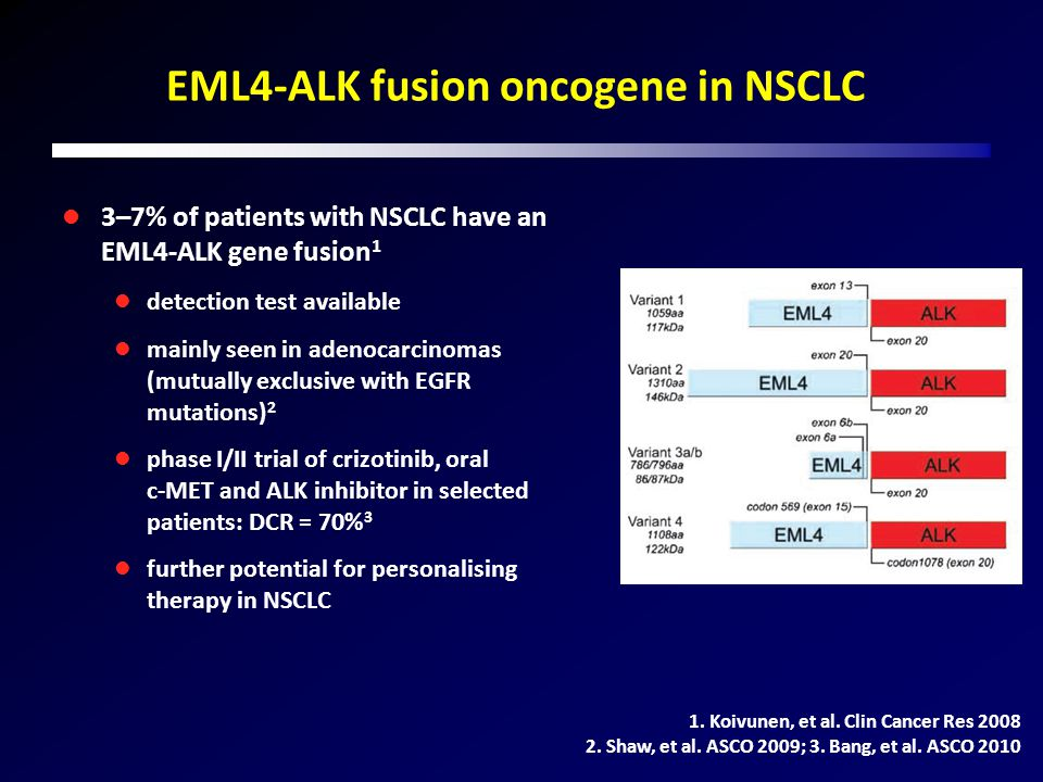 EML4-ALK fusion oncogene in NSCLC 3–7% of patients with NSCLC have an EML4-ALK gene fusion 1 detection test available mainly seen in adenocarcinomas (