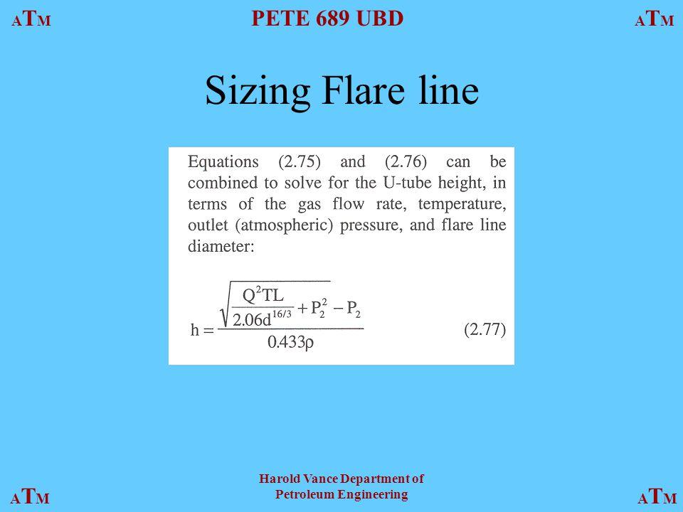 ATMATM PETE 689 UBD ATMATM ATMATMATMATM Harold Vance Department of Petroleum Engineering Sizing Flare line