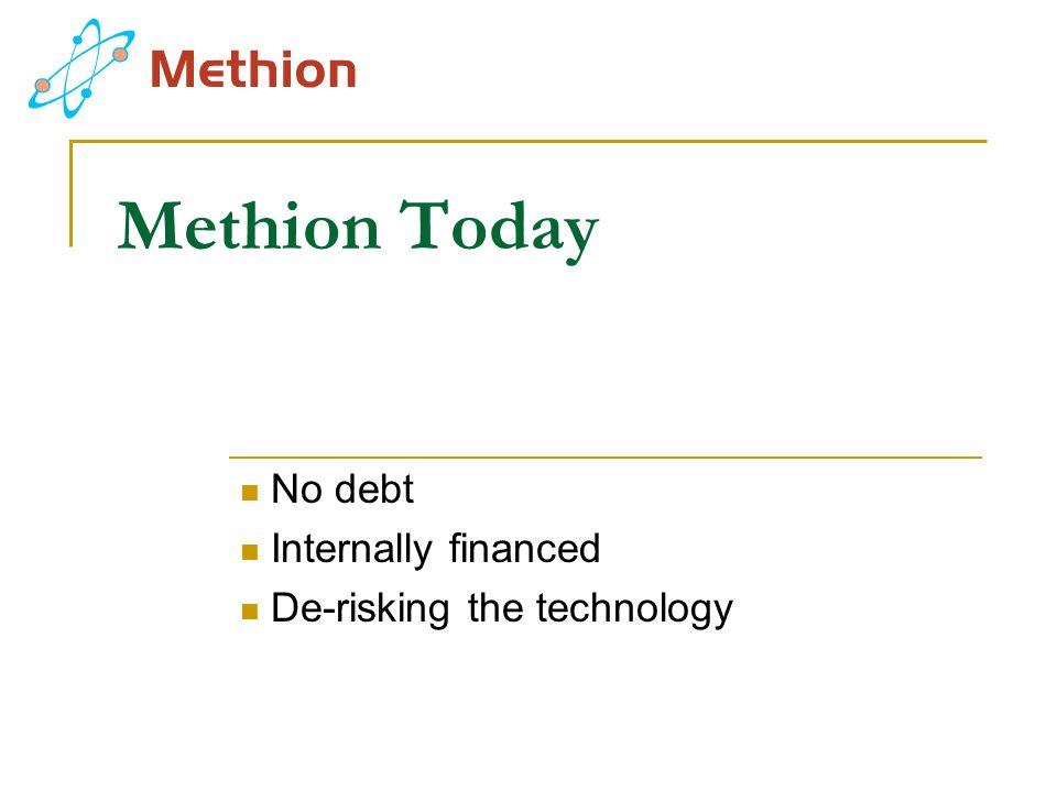 Methion Today No debt Internally financed De-risking the technology