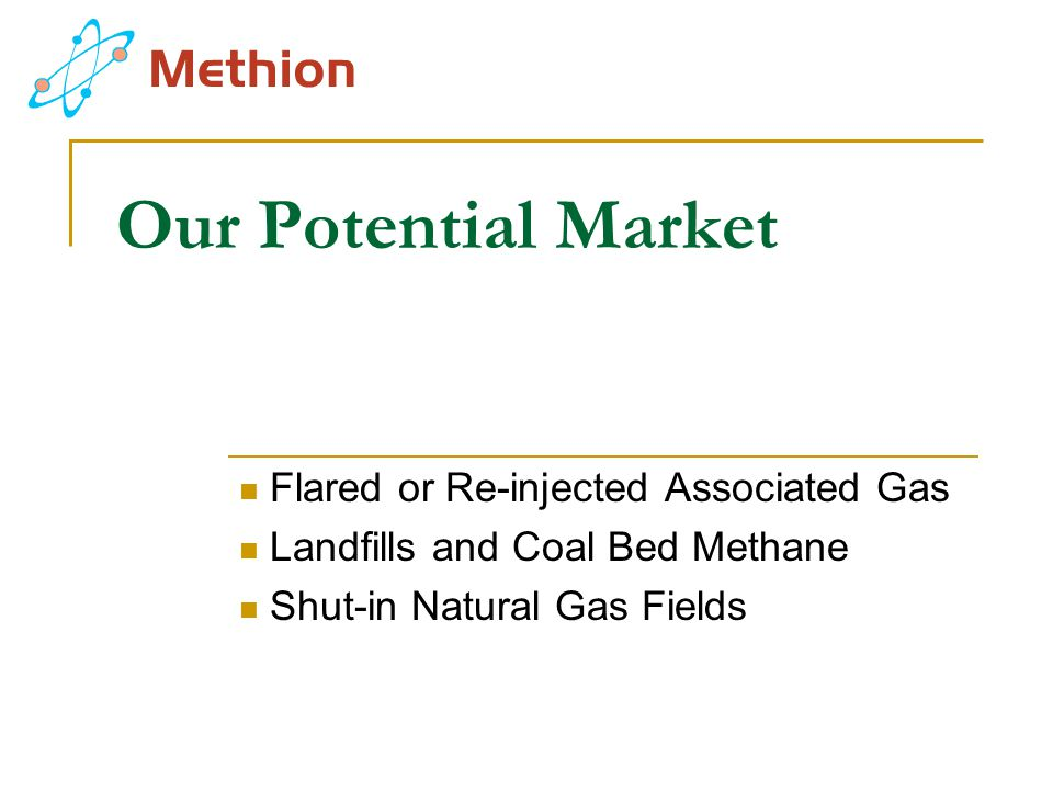 Our Potential Market Flared or Re-injected Associated Gas Landfills and Coal Bed Methane Shut-in Natural Gas Fields