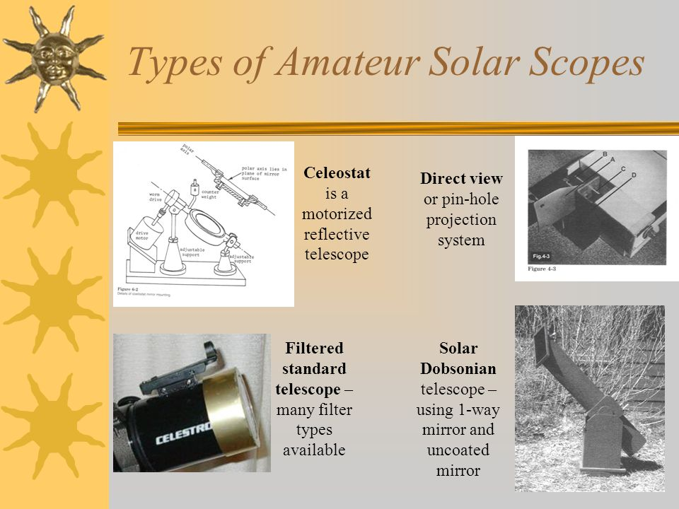 Types of Amateur Solar Scopes Celeostat is a motorized reflective telescope Direct view or pin-hole projection system Solar Dobsonian telescope – usin