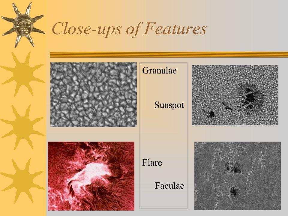 Close-ups of Features Granulae Sunspot Flare Faculae