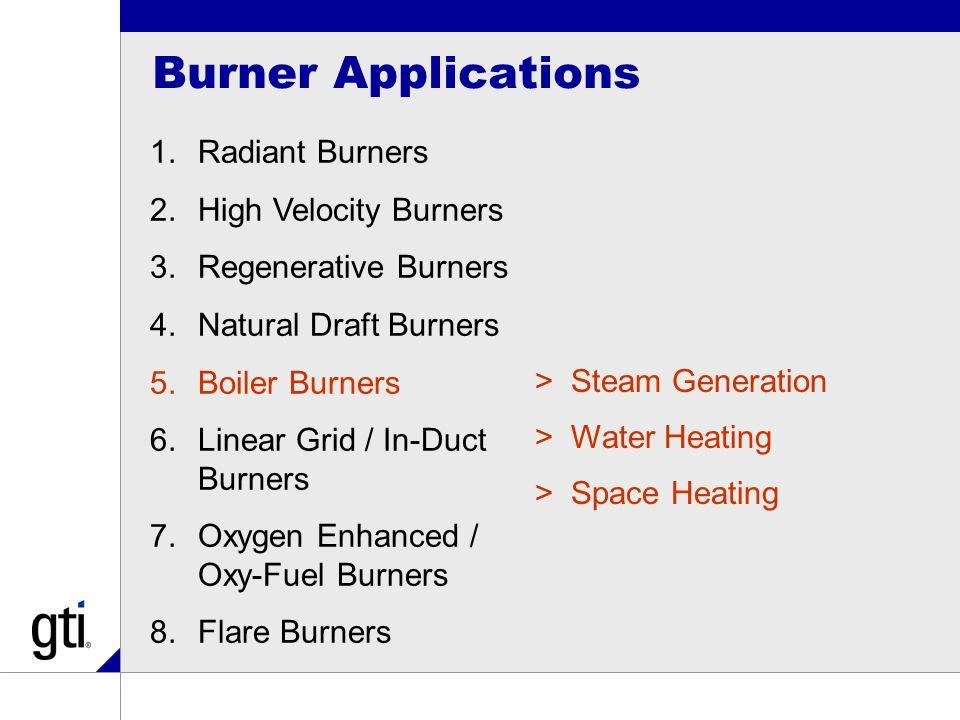 Burner Applications 1.Radiant Burners 2.High Velocity Burners 3.Regenerative Burners 4.Natural Draft Burners 5.Boiler Burners 6.Linear Grid / In-Duct Burners 7.Oxygen Enhanced / Oxy-Fuel Burners 8.Flare Burners >Steam Generation >Water Heating >Space Heating