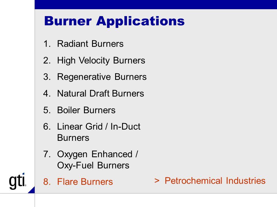 Burner Applications 1.Radiant Burners 2.High Velocity Burners 3.Regenerative Burners 4.Natural Draft Burners 5.Boiler Burners 6.Linear Grid / In-Duct Burners 7.Oxygen Enhanced / Oxy-Fuel Burners 8.Flare Burners >Petrochemical Industries