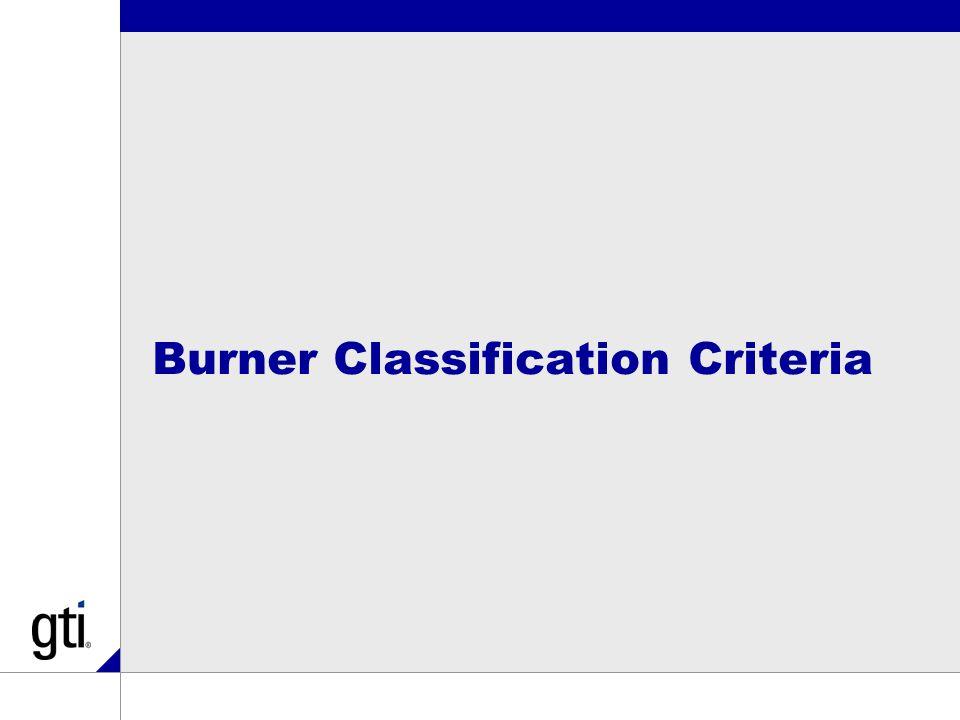 Burner Classification Criteria
