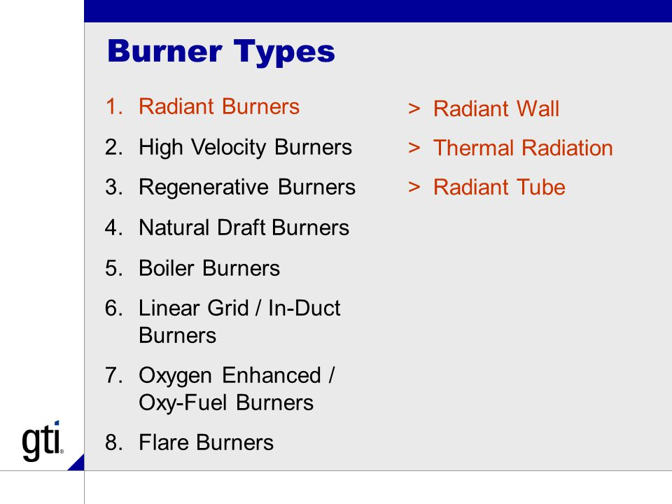 Burner Types 1.Radiant Burners 2.High Velocity Burners 3.Regenerative Burners 4.Natural Draft Burners 5.Boiler Burners 6.Linear Grid / In-Duct Burners 7.Oxygen Enhanced / Oxy-Fuel Burners 8.Flare Burners >Radiant Wall >Thermal Radiation >Radiant Tube