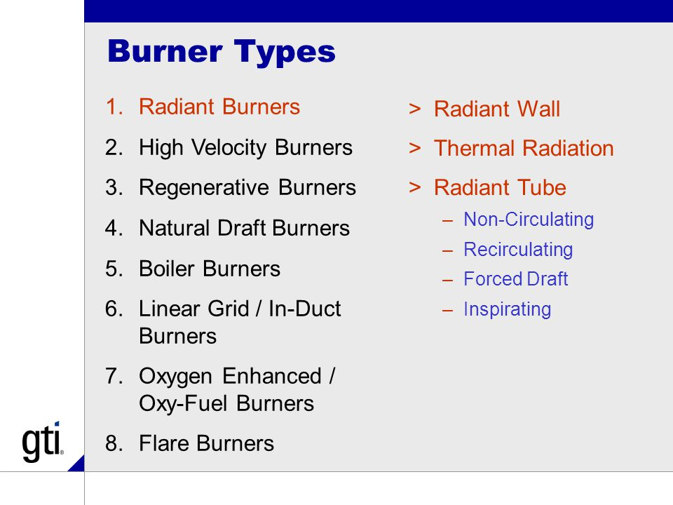 Burner Types 1.Radiant Burners 2.High Velocity Burners 3.Regenerative Burners 4.Natural Draft Burners 5.Boiler Burners 6.Linear Grid / In-Duct Burners 7.Oxygen Enhanced / Oxy-Fuel Burners 8.Flare Burners >Radiant Wall >Thermal Radiation >Radiant Tube –Non-Circulating –Recirculating –Forced Draft –Inspirating