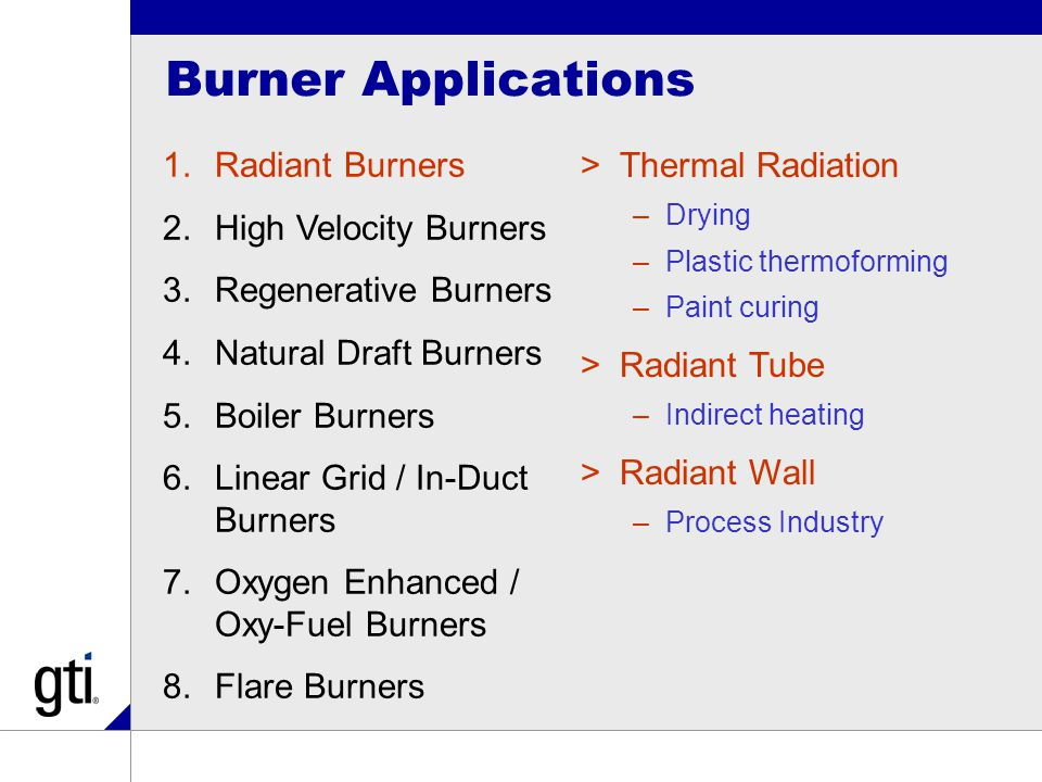 Burner Applications 1.Radiant Burners 2.High Velocity Burners 3.Regenerative Burners 4.Natural Draft Burners 5.Boiler Burners 6.Linear Grid / In-Duct Burners 7.Oxygen Enhanced / Oxy-Fuel Burners 8.Flare Burners >Thermal Radiation –Drying –Plastic thermoforming –Paint curing >Radiant Tube –Indirect heating >Radiant Wall –Process Industry