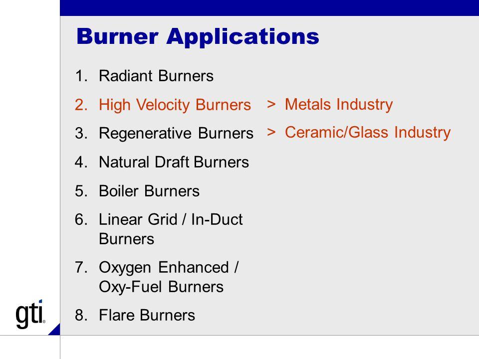 Burner Applications 1.Radiant Burners 2.High Velocity Burners 3.Regenerative Burners 4.Natural Draft Burners 5.Boiler Burners 6.Linear Grid / In-Duct Burners 7.Oxygen Enhanced / Oxy-Fuel Burners 8.Flare Burners >Metals Industry >Ceramic/Glass Industry