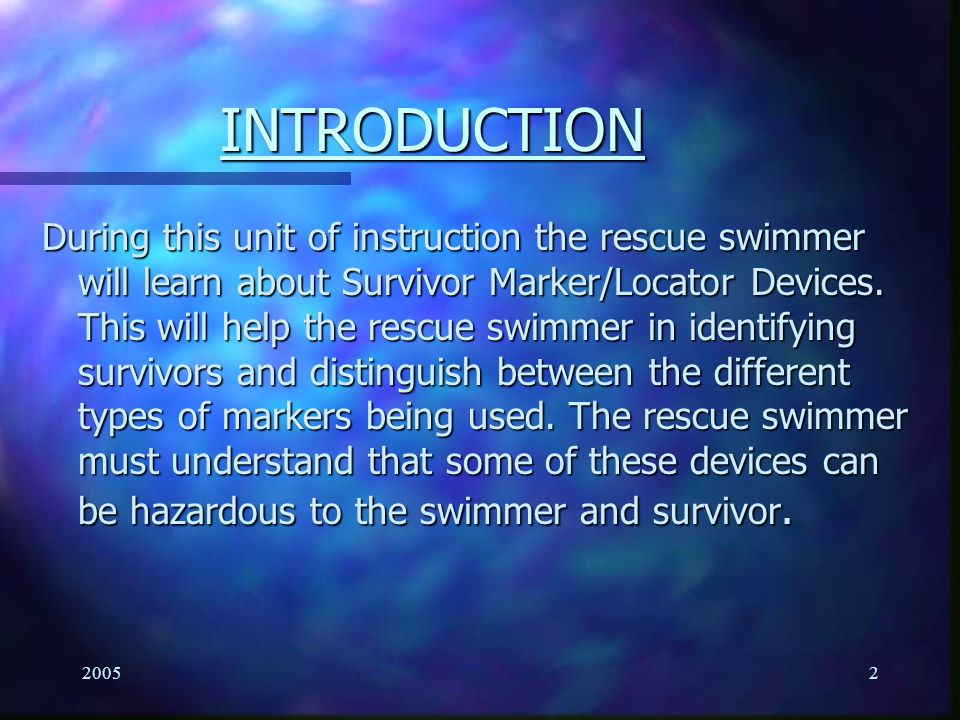 20051 Surface Rescue Swimmer School Survivor Marker/Locator Devices LT 4.6