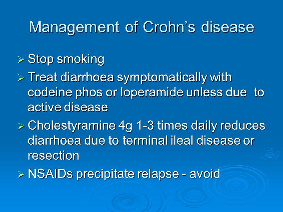 Cholestyramine  Treatment-resistant diarrhoea in Crohn s disease may be due to bile salt malabsorption.