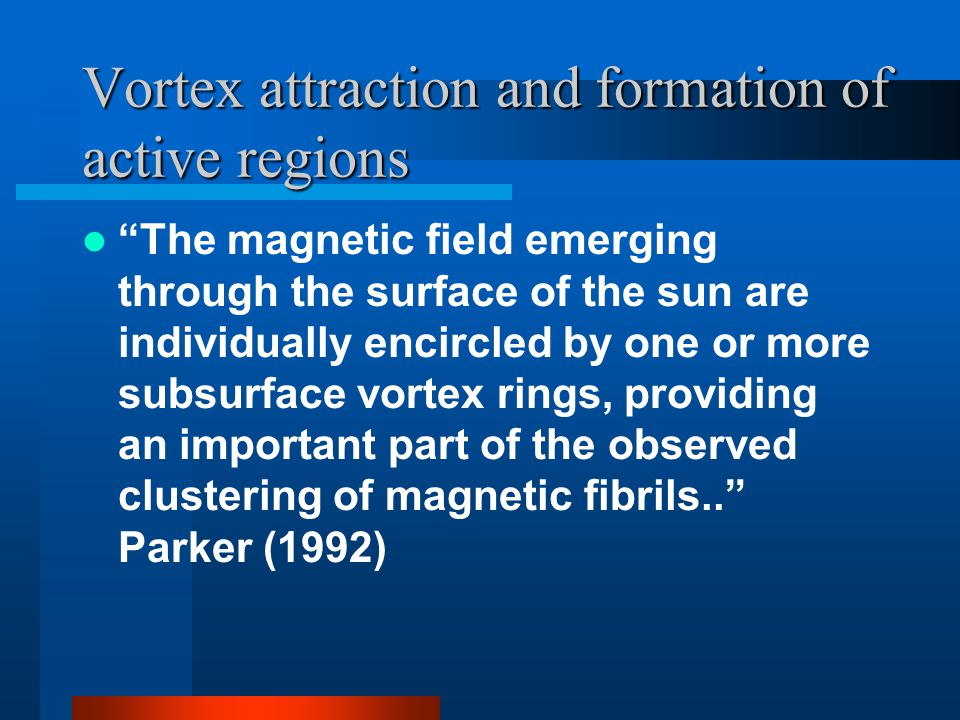 "Vortex attraction and formation of active regions ""The magnetic field emerging through the surface of the sun are individually encircled by one or mor"