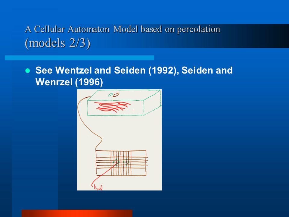 A Cellular Automaton Model based on percolation (models 2/3) See Wentzel and Seiden (1992), Seiden and Wenrzel (1996)