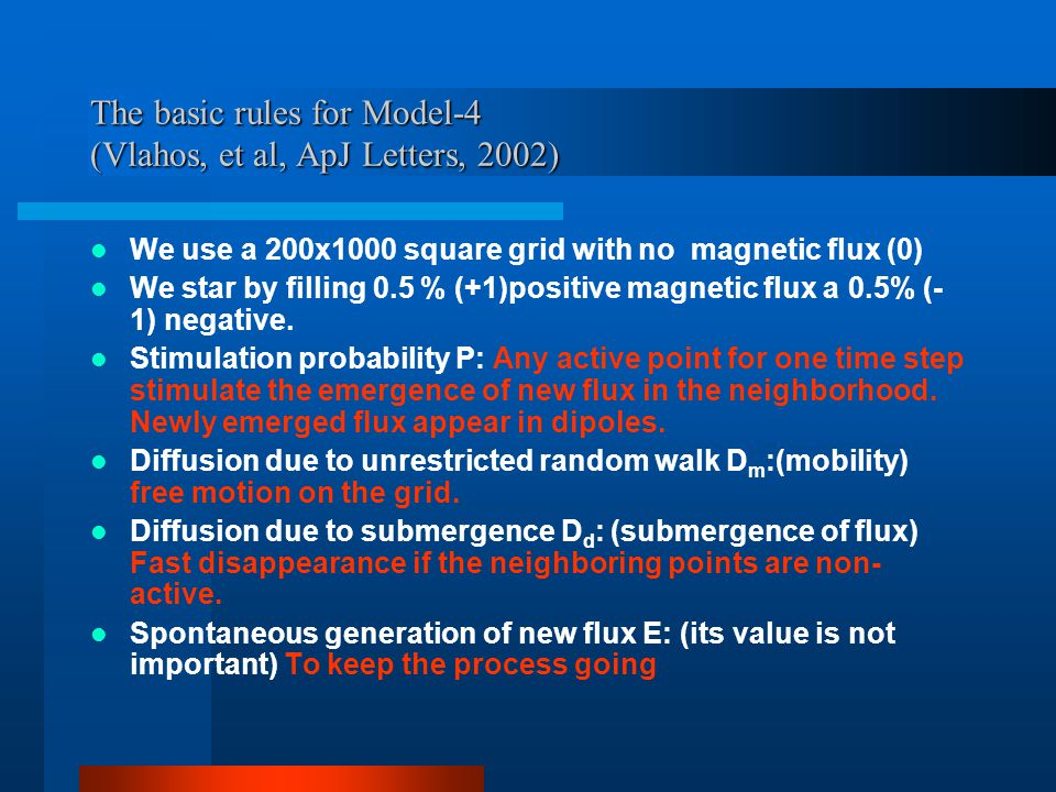 The basic rules for Model-4 (Vlahos, et al, ApJ Letters, 2002) We use a 200x1000 square grid with no magnetic flux (0) We star by filling 0.5 % (+1)positive magnetic flux a 0.5% (- 1) negative.