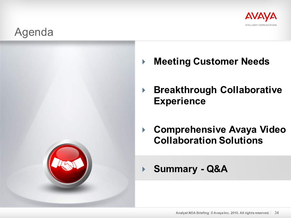 Analyst NDA Briefing © Avaya Inc. 2010. All rights reserved.