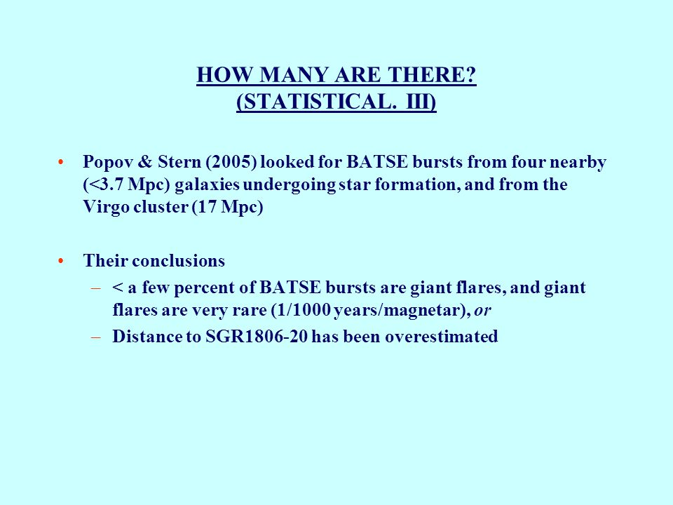 HOW MANY ARE THERE. (STATISTICAL.