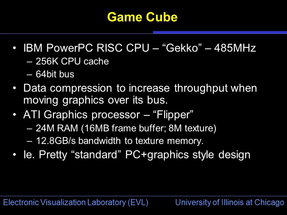 "University of Illinois at Chicago Electronic Visualization Laboratory (EVL) Game Cube IBM PowerPC RISC CPU – ""Gekko"" – 485MHz –256K CPU cache –64bit b"