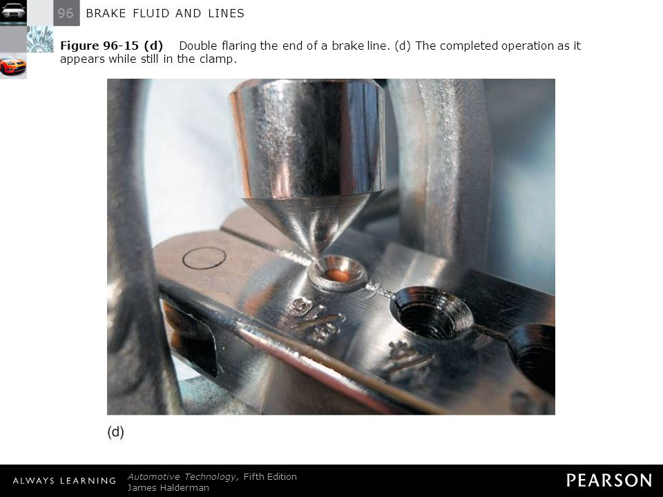 96 BRAKE FLUID AND LINES Automotive Technology, Fifth Edition James Halderman © 2011 Pearson Education, Inc. All Rights Reserved Figure 96-15 (d) Doub