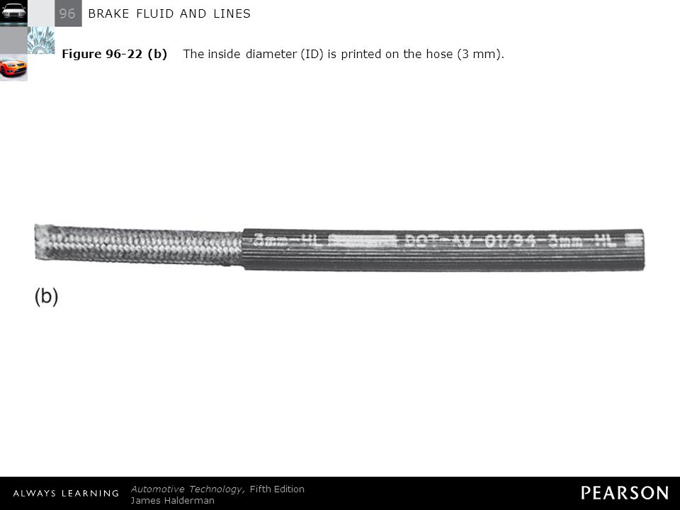 96 BRAKE FLUID AND LINES Automotive Technology, Fifth Edition James Halderman © 2011 Pearson Education, Inc. All Rights Reserved Figure 96-22 (b) The