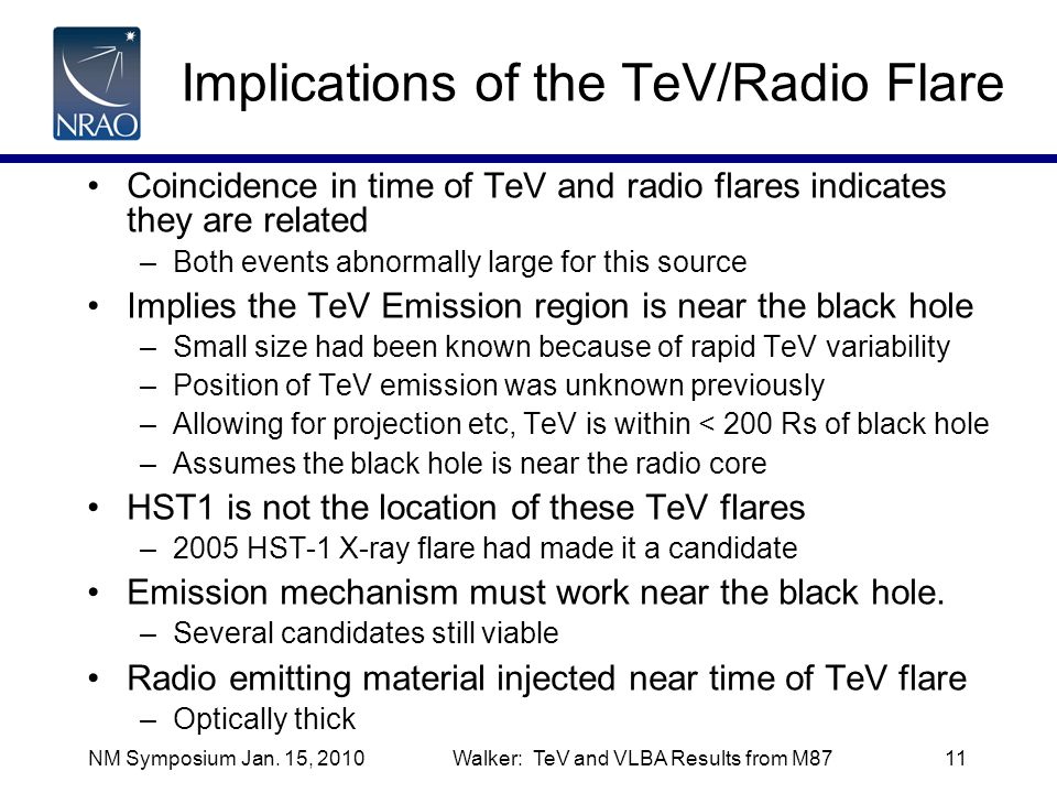 NM Symposium Jan. 15, 2010Walker: TeV and VLBA Results from M8711 Implications of the TeV/Radio Flare Coincidence in time of TeV and radio flares indi