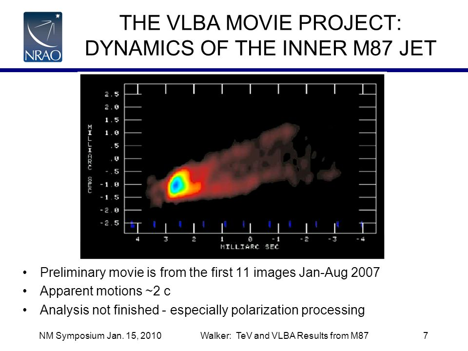 NM Symposium Jan. 15, 2010Walker: TeV and VLBA Results from M877 THE VLBA MOVIE PROJECT: DYNAMICS OF THE INNER M87 JET Preliminary movie is from the f