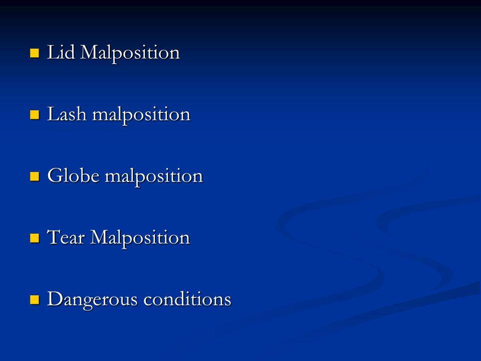 Lid Malposition Lid Malposition Lash malposition Lash malposition Globe malposition Globe malposition Tear Malposition Tear Malposition Dangerous conditions Dangerous conditions