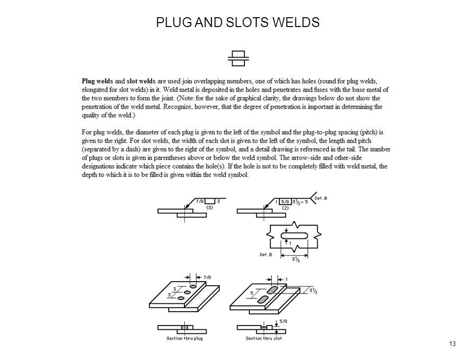 13 PLUG AND SLOTS WELDS