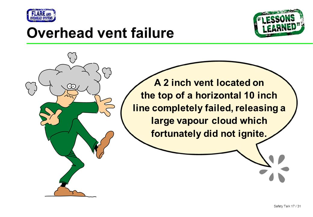 Safety Talk 17 / 31 Overhead vent failure A 2 inch vent located on the top of a horizontal 10 inch line completely failed, releasing a large vapour cl