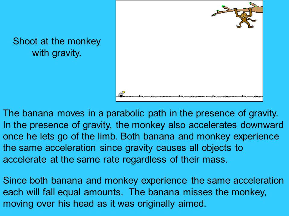 Shoot at the monkey with gravity.The banana moves in a parabolic path in the presence of gravity.