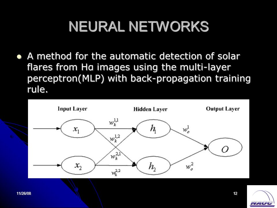 11/26/0812 NEURAL NETWORKS A method for the automatic detection of solar flares from Hα images using the multi-layer perceptron(MLP) with back-propagation training rule.