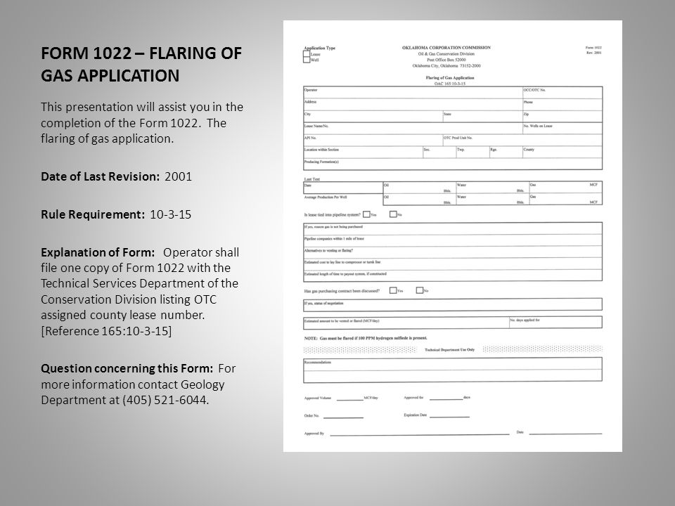 FORM 1022 – FLARING OF GAS APPLICATION LAST TEST