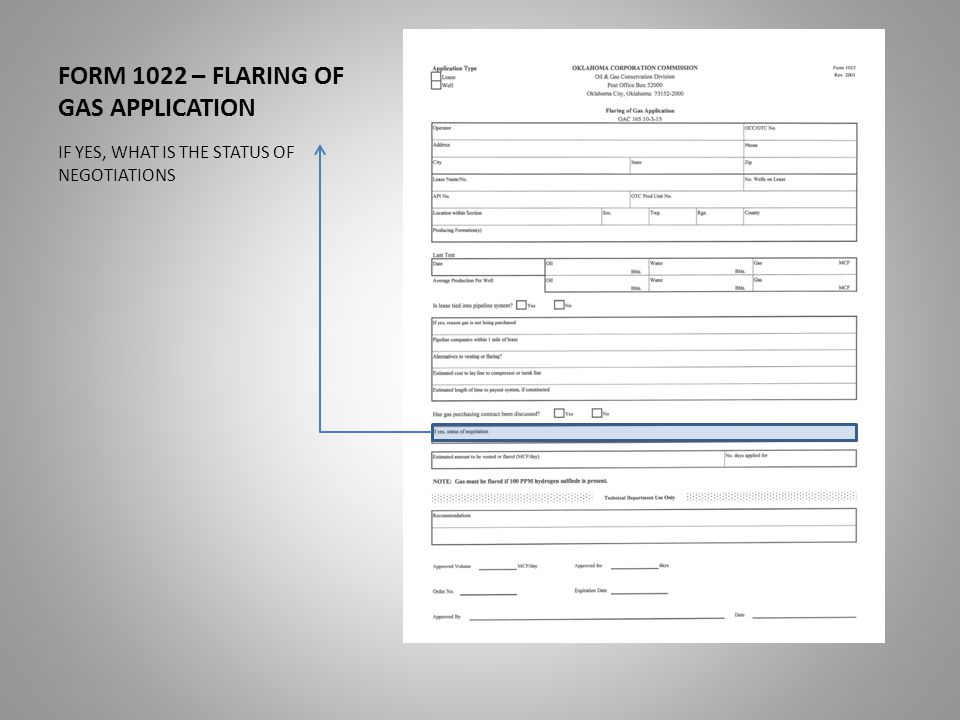 FORM 1022 – FLARING OF GAS APPLICATION IF YES, WHAT IS THE STATUS OF NEGOTIATIONS