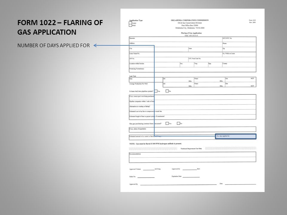 FORM 1022 – FLARING OF GAS APPLICATION NUMBER OF DAYS APPLIED FOR