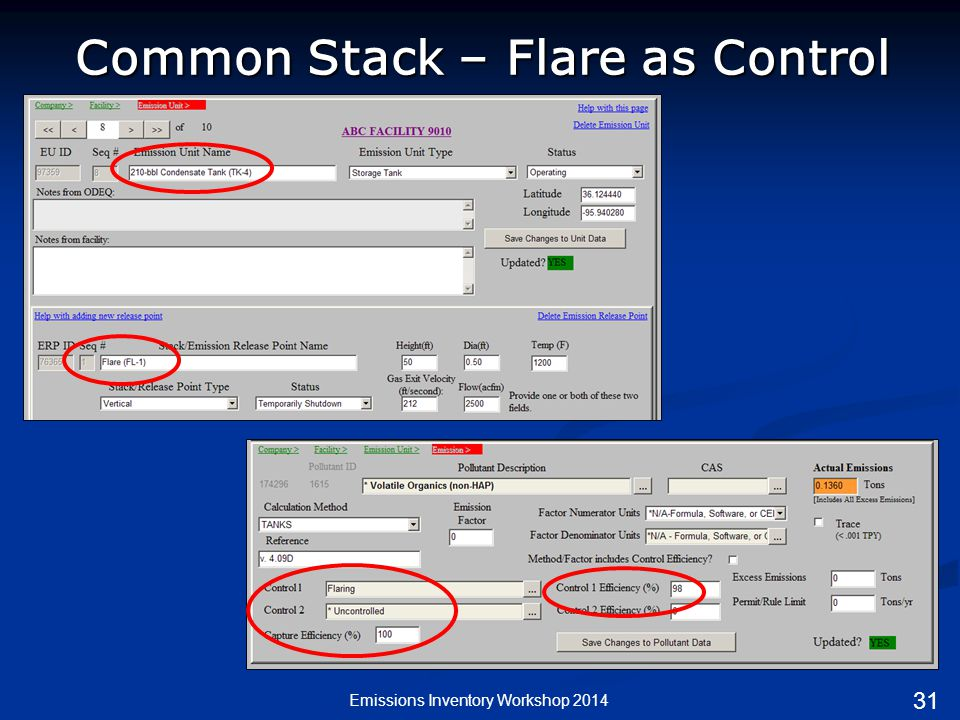 Emissions Inventory Workshop 2014 Common Stack – Flare as Control 31