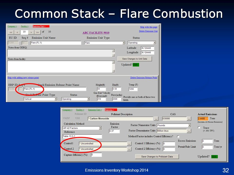 Common Stack – Flare Combustion Emissions Inventory Workshop 2014 32