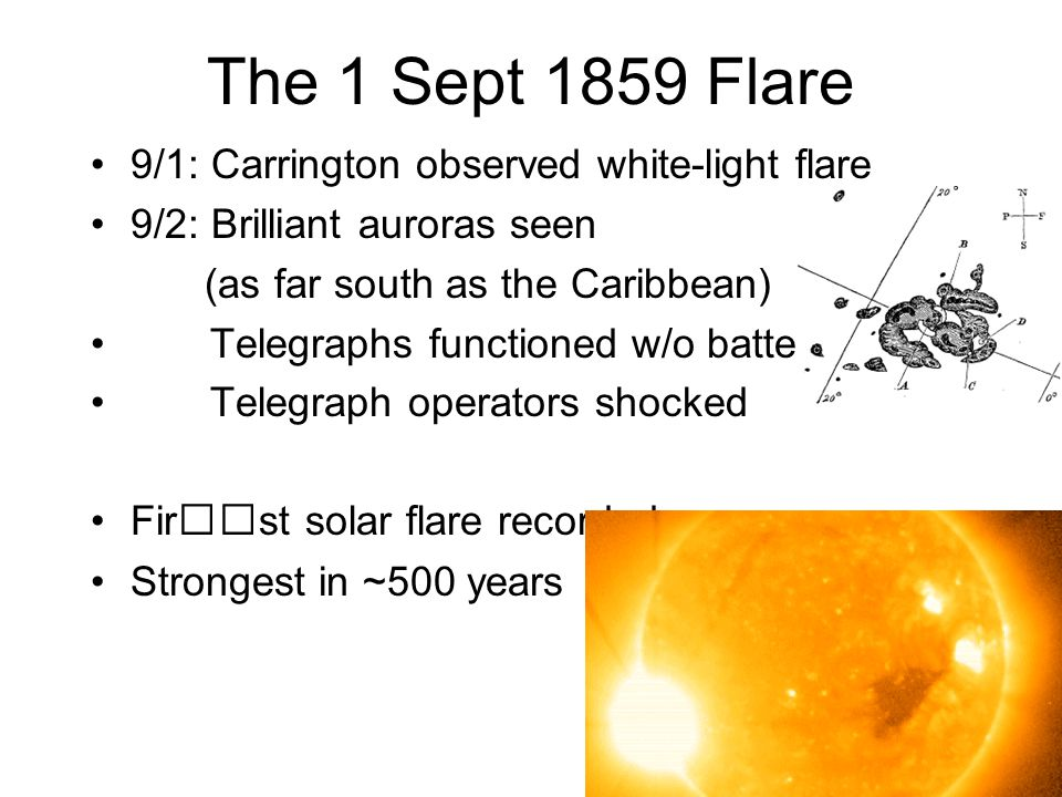 9/1: Carrington observed white-light flare 9/2: Brilliant auroras seen (as far south as the Caribbean) Telegraphs functioned w/o batteries Telegraph operators shocked First solar flare recorded Strongest in ~500 years The 1 Sept 1859 Flare