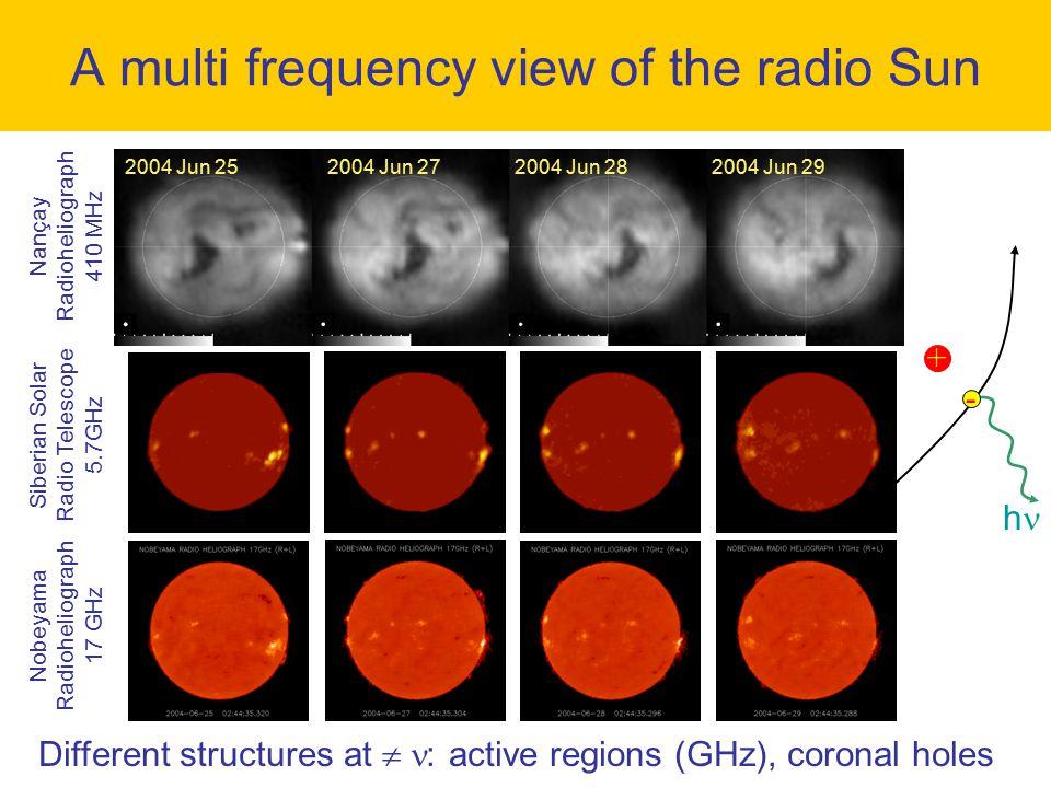 + - h A multi frequency view of the radio Sun 2004 Jun 252004 Jun 272004 Jun 282004 Jun 29 Nançay Radioheliograph 410 MHz Siberian Solar Radio Telesco