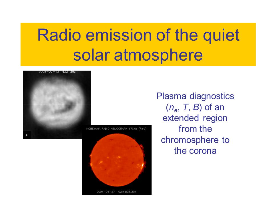 + - h A multi frequency view of the radio Sun 2004 Jun 252004 Jun 272004 Jun 282004 Jun 29 Nançay Radioheliograph 410 MHz Siberian Solar Radio Telescope 5.7GHz Nobeyama Radioheliograph 17 GHz Different structures at  : active regions (GHz), coronal holes