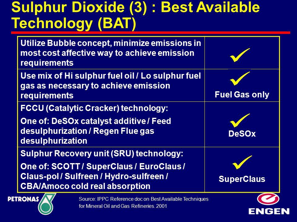 Sulphur Dioxide (3) : Best Available Technology (BAT) Utilize Bubble concept, minimize emissions in most cost affective way to achieve emission requir