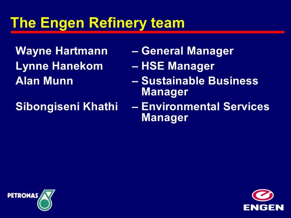 Wayne Hartmann – General Manager Lynne Hanekom – HSE Manager Alan Munn – Sustainable Business Manager Sibongiseni Khathi – Environmental Services Mana