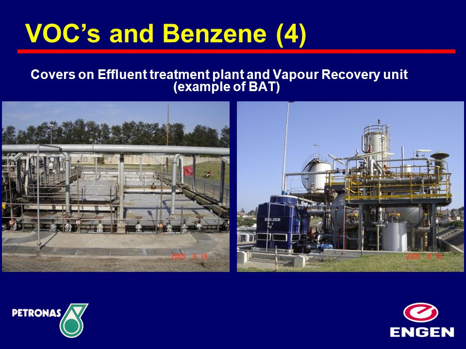 Covers on Effluent treatment plant and Vapour Recovery unit (example of BAT) VOC's and Benzene (4)