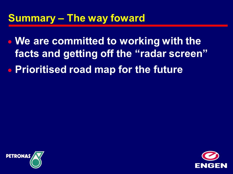 Summary – The way foward  We are committed to working with the facts and getting off the radar screen  Prioritised road map for the future