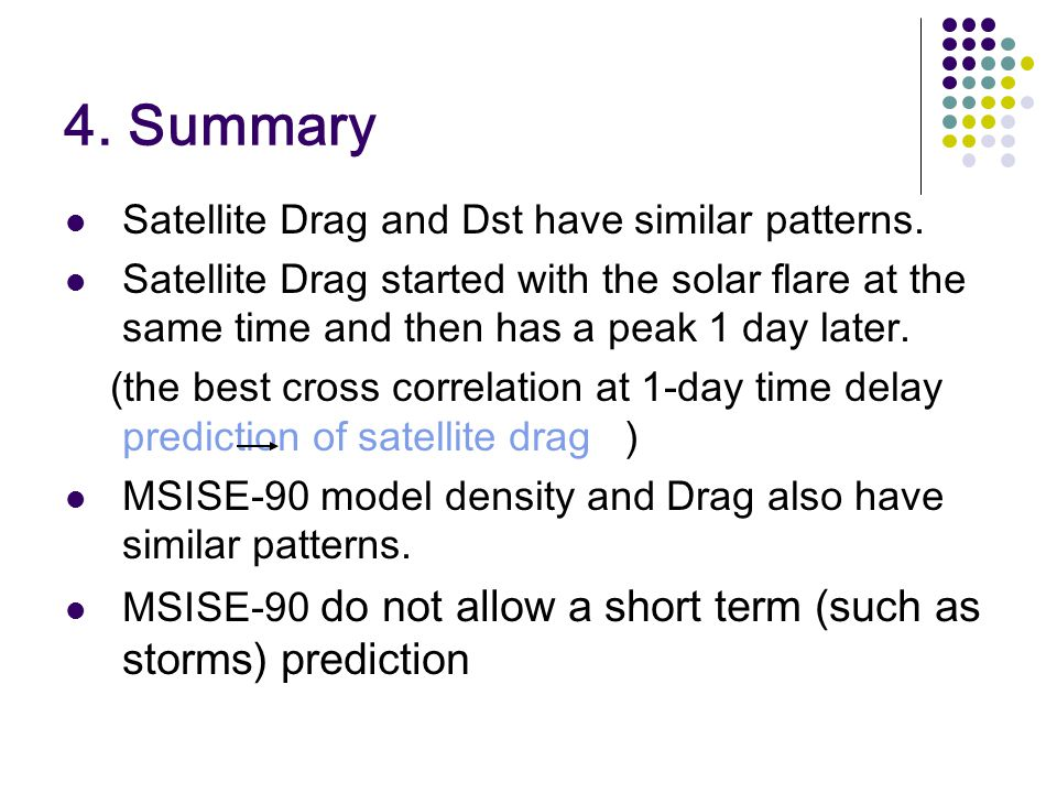 4. Summary Satellite Drag and Dst have similar patterns. Satellite Drag started with the solar flare at the same time and then has a peak 1 day later.