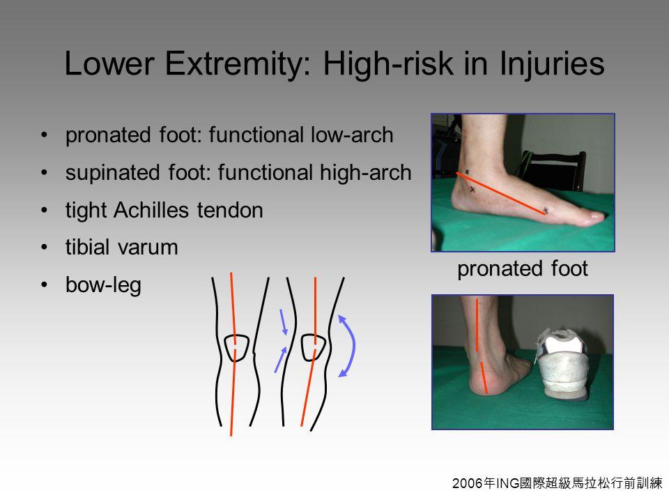 2006 年 ING 國際超級馬拉松行前訓練 Lower Extremity: High-risk in Injuries pronated foot: functional low-arch supinated foot: functional high-arch tight Achilles tendon tibial varum bow-leg pronated foot